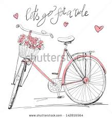 bicycle with a basket full of flowers stock vector id 142816564