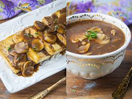 vegan mushroom gravy recipe newhippiekitchen roasted tofu with thyme and mushroom gravy