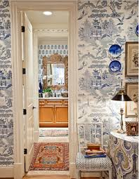 Toile Bathroom Wallpaper by Chinoiserie Blue And White Wallpaper Wallpaper U0026 Stencils