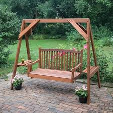 wood porch swing with frame red cedar american classic 14 hanging