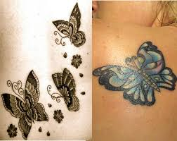 women tattoo design ideas neutral color and colorful butterfly