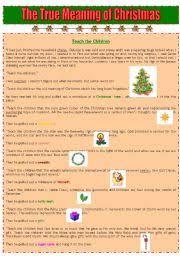 intermediate esl worksheets the true meaning of christmas