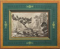 pair of framed french trompe l u0027oeil block printed wallpaper panels