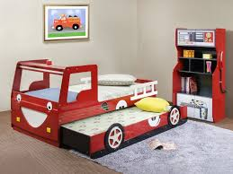 Dazzling Car Themed Bunk Bed Boys Bedroom Ideas With Red Storage - Boys bedroom ideas cars