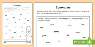 synonyms worksheet synonyms work sheet worksheet synonym