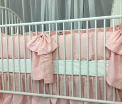 baby crib bedding set with large bow and sash ties u2013 u2013white grey