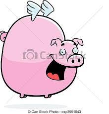 vectors pig flying happy cartoon pig wings flying