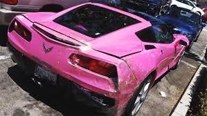 corvette car crash something crashed into the back of angelyne s pink