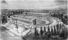 hand drawing of a completed memorial stadium with fountain out