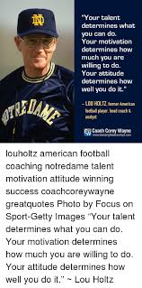 Lou Holtz Memes - ini your talent determines what you can do your motivation