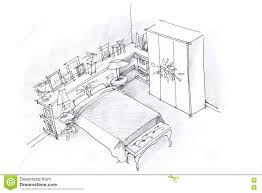 freehand pencil drawing of bedroom interior black and white stock