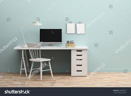 minimal modern working space 3d rendering stock illustration