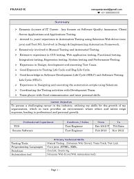 Sample Resume For Software Testing Freshers by Prasad Selenium Web Driver Resume Selenium Software Online