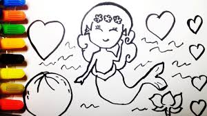 draw mermaid ariel cute heart fruit coloring mermaid