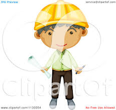 cartoon of a happy engineer boy holding blueprints royalty free