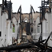 century old church burns down in fire photos and images getty images