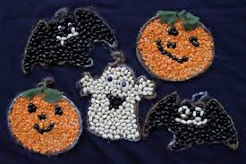 Halloween Arts Crafts by Of Dawn Crafts Bean Mosaics Easy Halloween Kids Craft