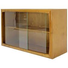 edmund spence blonde wood swedish modern hanging bookcase w glass