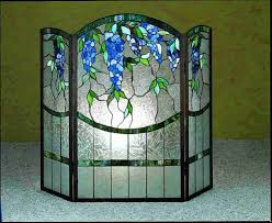 antique stained glass fireplace screen fire decorative screens