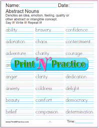 noun worksheets common and proper abstract collective plural