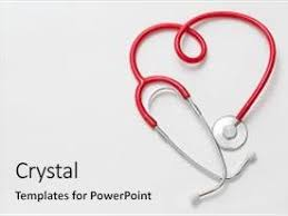 powerpoint template heart and a stethoscope on a white background