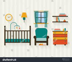 Baby Room Interior by Baby Room Furniture Nursery Interior Flat Stock Vector 248228083