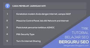 membuat jaringan wifi lancar membuat jaringan wifi sederhana di laptop sendiri