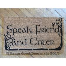 speak friend enter etsy and doormat picture doormatspeak door