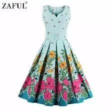 light blue sleeveless dress zaful women fashion vintage printing sleeveless dress retro style