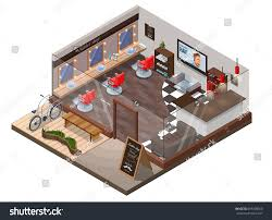 isometric 3d barber shop interior hipster stock vector 695308360