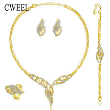 earrings bracelet sets images Gold color new jewelry set for women beads collar necklace jpg