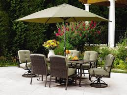 furniture ideas patio dining set with umbrella and green cushion