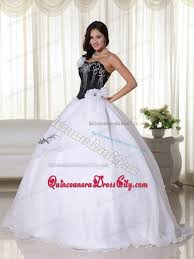 black and white quinceanera dresses white and black strapless organza embroidery quinceanera dress