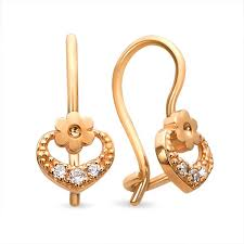 baby gold earrings buy 14 karat gold baby earrings heart n flower kids jewelry