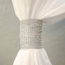Curtain Band Silver Rhinestone Mesh Velcro Band Curtain Tie