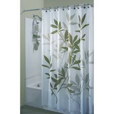 Green Bathroom Window Curtains White Fabric Curtain With Green Leaves On Stainless Steel Hook Of