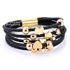 gold plated leather bracelet images Alibaba express hot sell leather wrap 18k rose gold plated jpg
