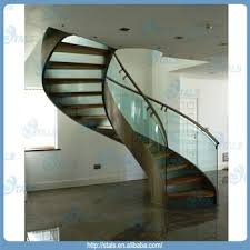 glass handrail wood tread stainless steel curved staircase buy