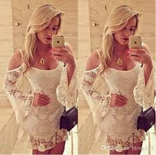 cute girls white flounce lace dresses off shoulder flare long