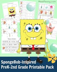free spongebob inspired printable pack free printable learning