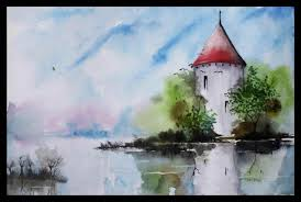 how easy landscape watercolor paintings to paint a simple with
