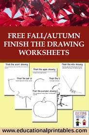 free fall autumn finish the drawing worksheets educational