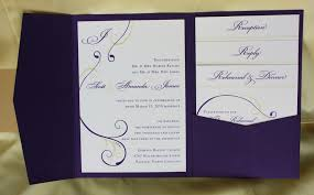 purple wedding invitation kits purple yellow swirl with monogram pocketfold wedding invitations