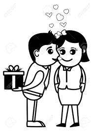 surprise love gift office and business people cartoon character