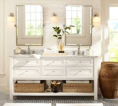 White Bathroom Vanity Mirror Luxury Bathroom Area With 2 Pieces Silver Metallic Brushed Nickel