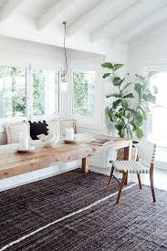 white walls wood table built in bench interior inspiration