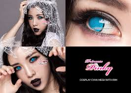 light blue cosplay contacts princess pinky cosplay cyan mesh with rim