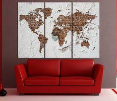 large world map wall art canvas print 3 panel split watercolor