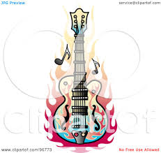 royalty free rf clipart illustration of a flame guitar tattoo