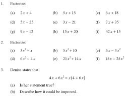Factoring Expressions Worksheet Algebraic Expressions Two Algebra